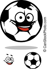 Soccer ball character with happy face in cartoon style for...