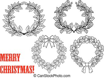 Christmas holly round wreaths