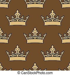 Golden crowns seamless pattern for medieval, royal, casino...