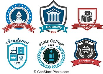 University, college and academy heraldic emblems with...