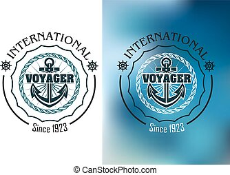 International voyager marine heraldic banner with ship...