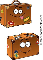 Brown travel briefcases with smiling face - Cartoon brown...