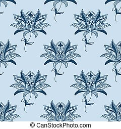 Blue paisley floral pattern on light blue background for...