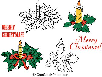 Glowing candles on Christmas leaves for Christmas and New...
