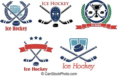 Ice Hockey heraldic emblems and symbols with hockey stick,...