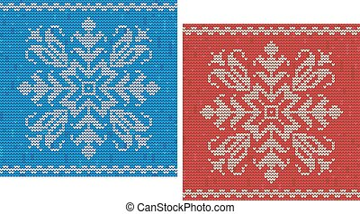 Red and blue stitch patterns with snowflakes