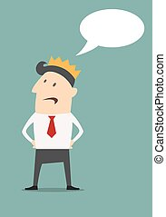 Businessman with golden crown and speech bubble