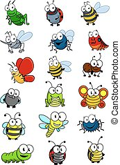 Cartooned insects set with bee, wasp, hornet, caterpilllar,...