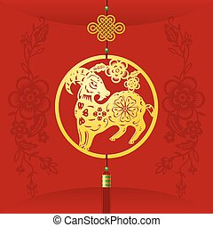 Chinese New Year background with hanging sheep decoration