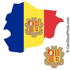Andorra Flag - Flag and coat of arms of the Principality of...