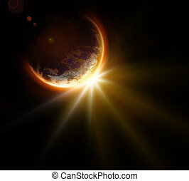 Space exploration and discovery concept of sun rays...