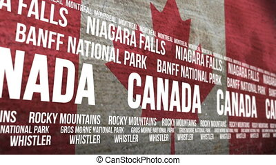 Canada Flag Tourism Attractions - Scrolling banner with the...