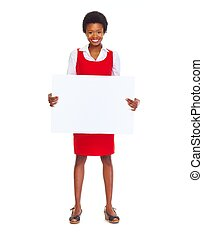 Young african business woman with banner isolated white...