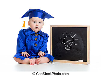 funny baby in academician clothes at chalkboard - funny baby...