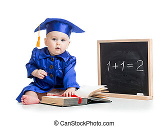 baby with open book in academician clothes at chalkboard -...
