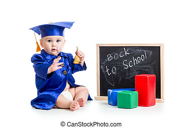 funny kid with bell in academician clothes at chalkboard...