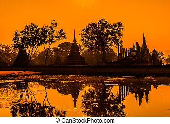 Sukhothai historical park, the old town of Thailand