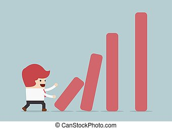 Businessman pushing bar graph, Dominoes effect concept,...