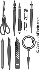 Stationery Set Vector Illustration - A set of vector drawn...