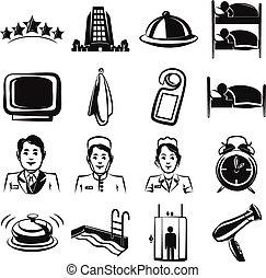 Hotel black Icons set