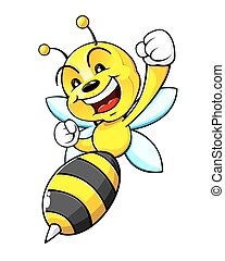 Bumblebee mascot - An illustration of a bumblebee, smiling,...