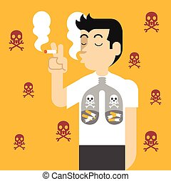 Vector flat illustration against smoking