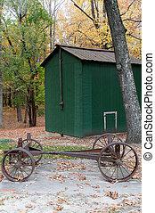 Two Horse Drawn Wagon - Vintage horse drawn iron wheel wagon...