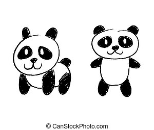 Panda Illustraion - vector illustration of two panda
