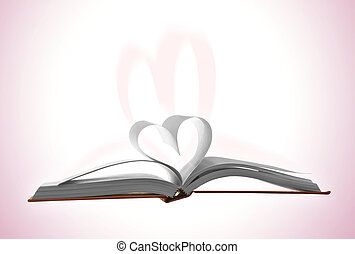 Reading and books love - Open book with two pages turned...