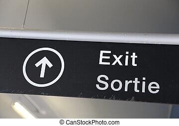Exit sign at airport