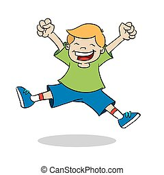 Boy jumping while smiling - A happy boy, jumps in the air