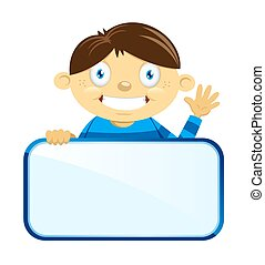 Boy with blank name tag - A vector illustration of a boy...