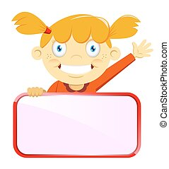 Girl with blank name tag - a vector illustration of a girl...