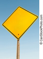 Blank road sign - Blank caution yellow warning type American...