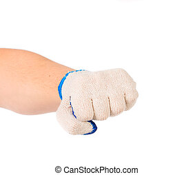 hand glove clenching fist - Strong male worker hand glove...