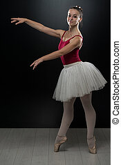Young Ballerina Dancer In Tutu Performing On Pointes -...