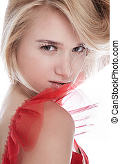 Girl in red - portrait of beautiful slavonic model girl...