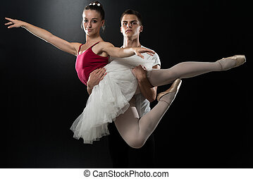 Couple Ballerina Ballet Dancer Dancing On Black Background -...