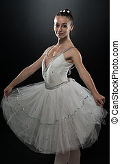 Woman Ballerina Ballet Dancer Dancing On Black Background -...