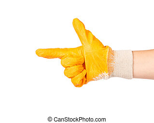 Hand in protective glove showing direction Isolated on white...