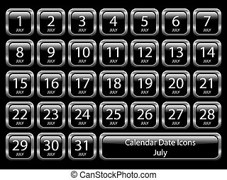 Calendar Icon Set - July