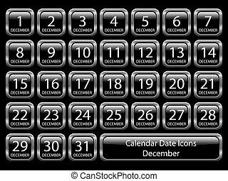 Calendar Icon Set - December