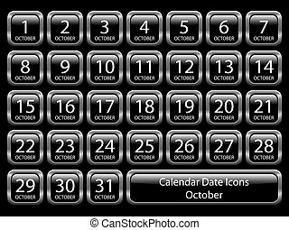 Calendar Icon Set - October