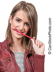 Woman Chewing Pencil