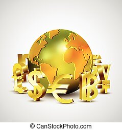 world currency symbols moving around 3d golden world, vector...