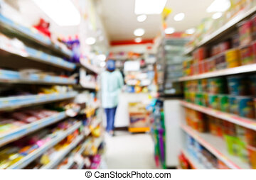 Blurry convenience store shot by moving camera with slow...