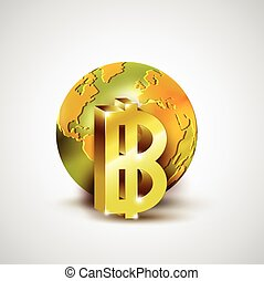 World economic concept with 3d gold world and Baht currency isolated on whit