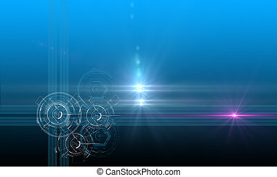 sci- fi tech background - star with lens flare and sci- fi...