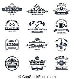 Retro Logo Set - Retro black logo emblems set with woodworks...