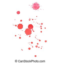 Abstract watercolor aquarelle hand drawn red blood drop splatter stain art paint on white background Vector illustration